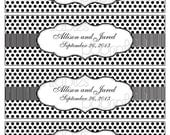 Simple, Elegant Personalized Water Bottle Labels - Black and White Polka Dots and Stripes - DIY PRINTABLE