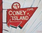 Jim's Coney Island hot dog sign 20 X 24 original painting