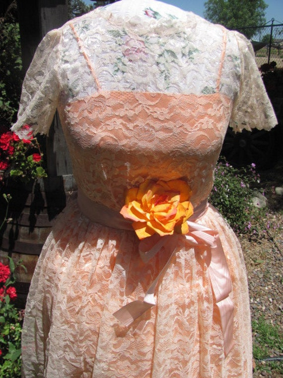 Vintage Dress from 1950's Peach Slip with Lace
