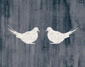 Love Birds - White Silhouettes on Dark Blue - Giclee Print