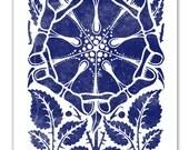 Navy Blue Art Print -  Indigo Dutch Flower - New Colors - Vintage Art - Woodblock with a Modern Twist - 11 x 14