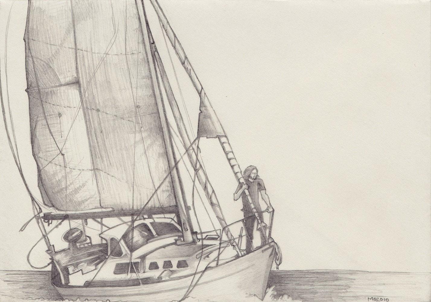 Sailboat Drawing on Envelope