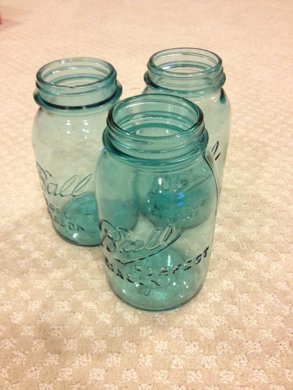Quart vintage blue ball perfect mason canning jars wedding