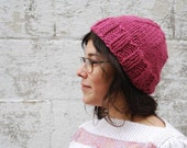 Hip knit adult hat in dull raspberry pink