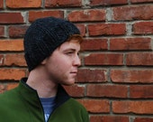 Hip knit adult hat in charcoal