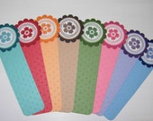 Set of 10 Bookmarks, Stamped, Flowers, Embossed, Polka Dots, Rainbow, Books, Reading, Gift, Party Favour