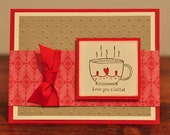 Love You a Latte Greeting Card, Red, Brown, Cream, Hearts, Ribbon, Coffee, Happy Birthday, Blank, Stamped