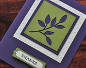 Little Leaves Purple and Green Thank You Greeting Card, Thanks, Embossed, Ivory, Nature, For Him, For Her