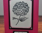 Thank You Hydrangea Greeting Card, Pink, Black, White, Stamped, Handmade, Flower, Blank Inside, Rhinestones, For Her