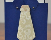 Happy Fathers Day Greeting Card, For Him, Dad, Grandpa, Son, Shirt, Tie, Navy Blue, Ivory, Cream, Origami, Blank Inside