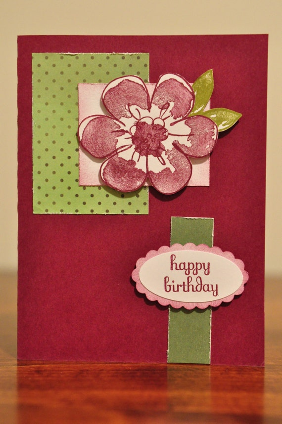 Happy Birthday Greeting Card, Pink, Green, White, Razzelberry, Purple, Flower, For Her, Polka Dots, Stamped, Blank Inside