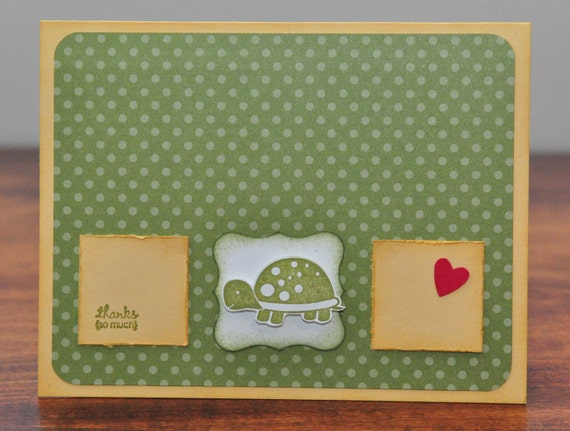 Thank You Greeting Card, Green Turtle, Stamped, Polka Dots, Yellow, Heart, Thanks So Much, Squares, Handmade