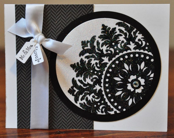 Wedding Medallion Greeting Card, Black, White, Elegant, Congratulations, Wedding, Couple, Marriage, Sparkle, Love, Blank Inside