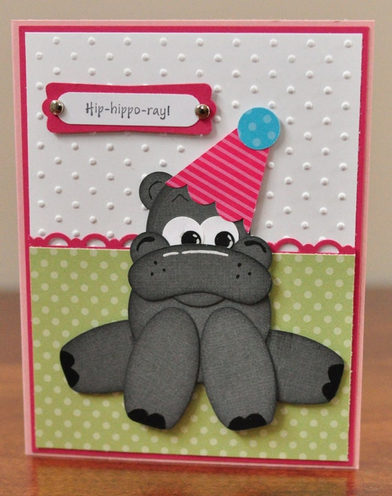 Happy Birthday Hippo Greeting Card, Stamped, Punch Art, Grey, Pink, Green, White, Polka Dots, Kids Birthday, Girl, For Her, Blank Inside