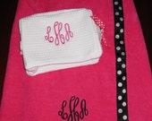 Towel/Spa Wrap and Makeup Bag Gift Set-Monogrammed