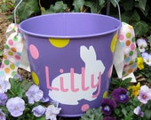 Personalized Easter Basket Bucket - 5 quart - PURPLE