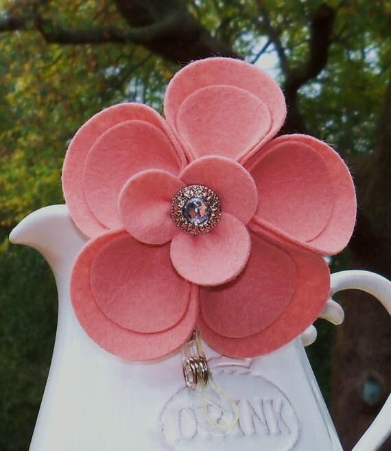 Id Badge  Retractable Badge ID Holder  Id Badge Reel Pink Grapefruit Wool Felt Flower