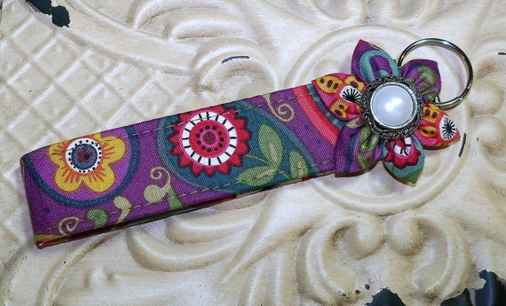 Fabric Keychain Key Fob Ring Wristlet    Purple Print