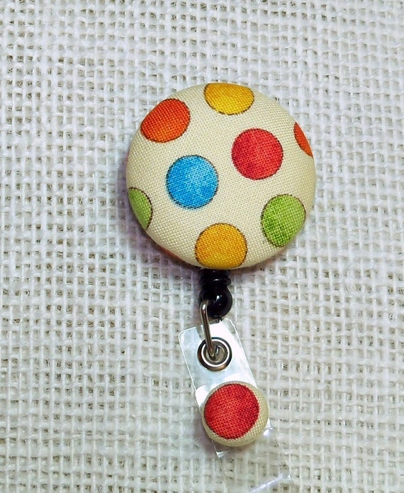 Retractable Badge ID Holder / Badge Reel Fabric Covered Button Multi Colored Dots