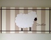 RESERVED for Paige J.  Personalized Little Lamb Painted Canvas