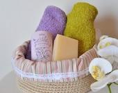 Fabric Organizer storage basket, Crochet storage fabric basket and stripes fabric. READY TO SHIP