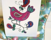 Greeting Card with original illustration, The Pretty Nightingale
