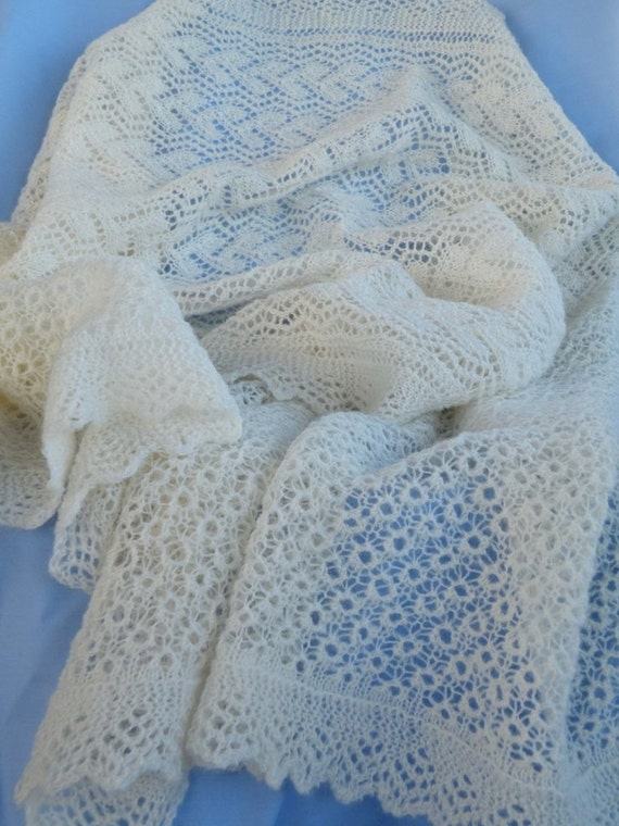 Hand Knitted Shetland Wool Cobweb Lace Wrap in Natural White