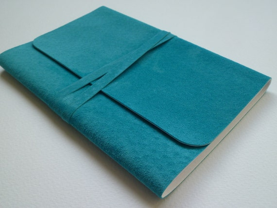 Suede Bound Notebook  Vibrant Turquoise RESERVED (Customer Order) X 6 Handmade