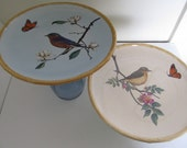 Set of 2--Pedestal Dessert Plates--Bird, Butterfly with Bamboo Edge--Cake Stand, Buffet Plate, Dessert Plate