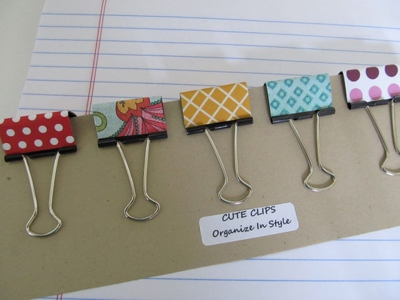 CUTE CLIPS--Set of 5 Covered Binder Clips