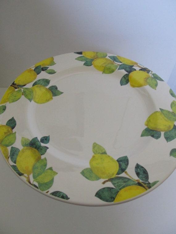 RESERVED for Lorraine Zuno--Round Pedestal Dessert Plate--LEMONS--Serving Plate, Horsdoeuvre Plate, Buffet Plate, Dessert Plate