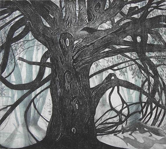 Under the yew tree etching by Flora McLachlan, fox, crows, dark woods, forest, dusk