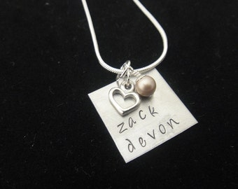 Hand Stamped Jewelry - Personalized Hand Stamped Nickel Silver Square Necklace with Swarovski Pearl and Heart Charm
