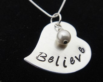 Believe - Sterling Silver Heart Hand Stamped Necklace