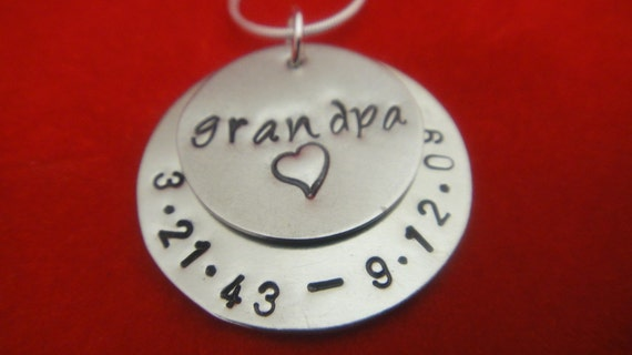 Hand Stamped Jewelry - In Memory Of - Two Disc Hand Stamped Personalized Necklace