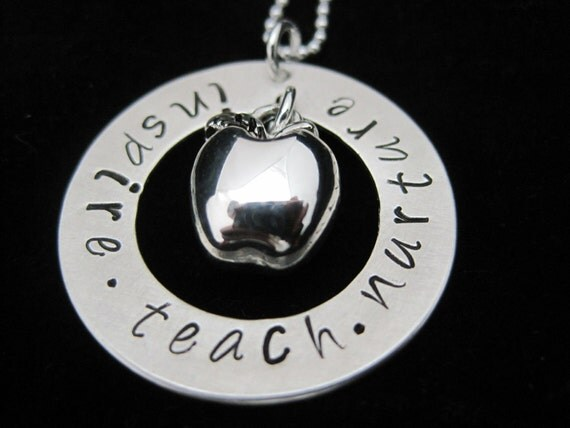 Inspire, Teach, Nurture Hand Stamped Sterling Silver Washer Necklace - Great Gift for Teachers