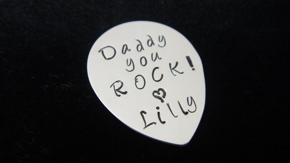Sterling Silver Guitar Pick - Hand Stamped Personalized