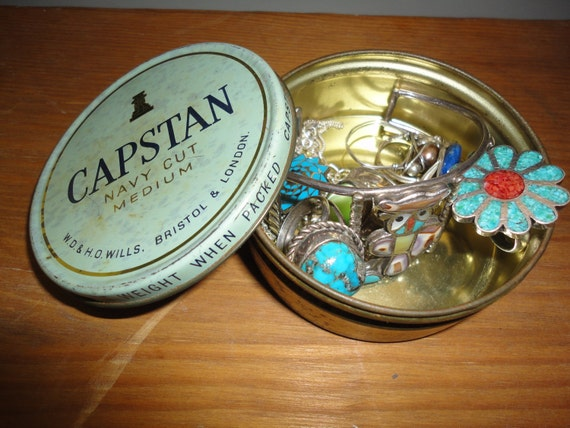 capstan navy cut tobacco tin can jewelery box