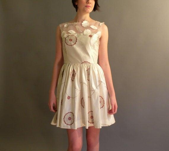 Womens cream silk dress