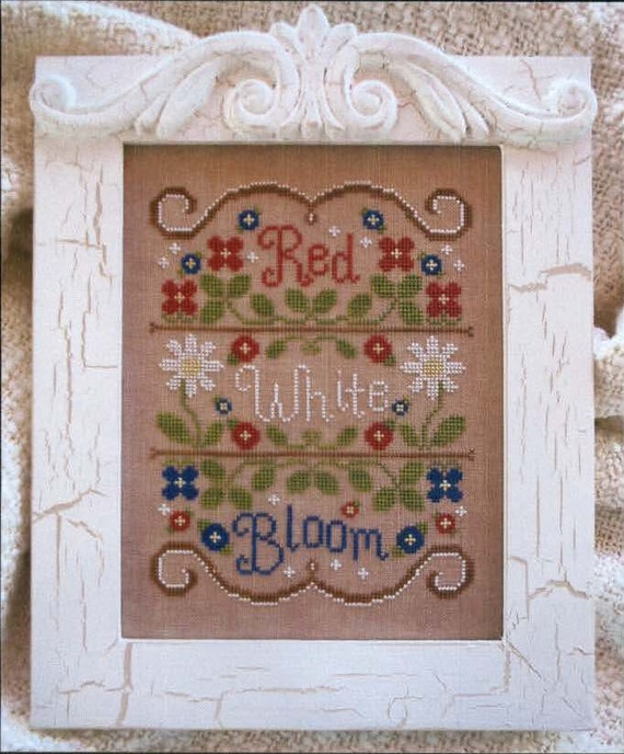 Red, White and Bloom - cross stitch pattern by Country Cottage Needlework
