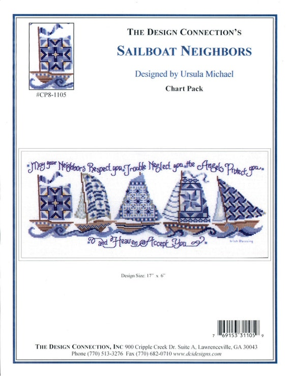 The Design Connection: Sailboat Neighbors (OOP)  - an Ursula Michael's Cross Stitch Pattern