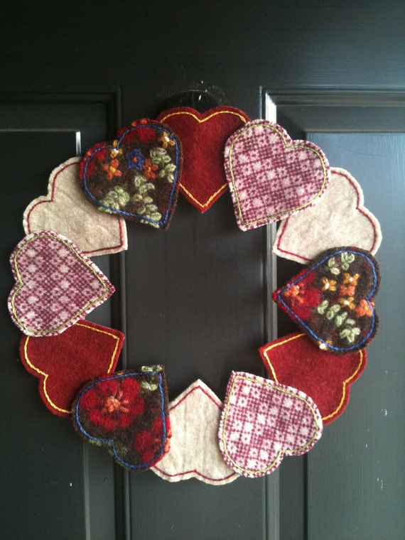 CUSTOM ORDER for DEBBY - Upcycled Felted Wool Hearts, Chocolate, and Flowers Valentine's Day Wreath