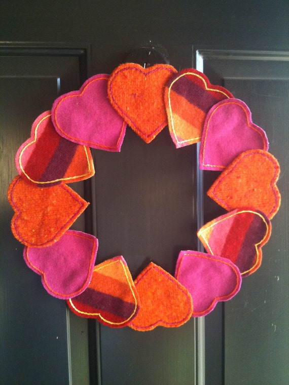 Upcycled Felted Wool Fuschia, Orange, Red, and Pink Heart Valentine's Day Wreath