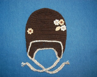 Alpaca Hat for Baby, Brown with Cream and Gold Flowers and Trim