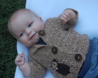 Undyed Alpaca Baby Sweater with Owl Motif size 6 months