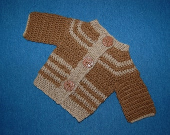 Baby Sweater in Natural Undyed Alpaca size Newborn Cardigan Brown and Tan
