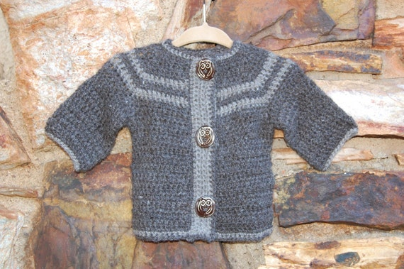 Undyed Alpaca Baby Sweater with Owl Buttons in Shades of Gray