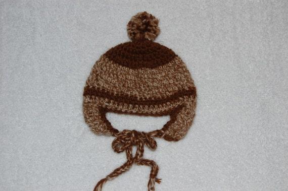 Undyed Alpaca Ear Flap Hat for Newborn/Preemie