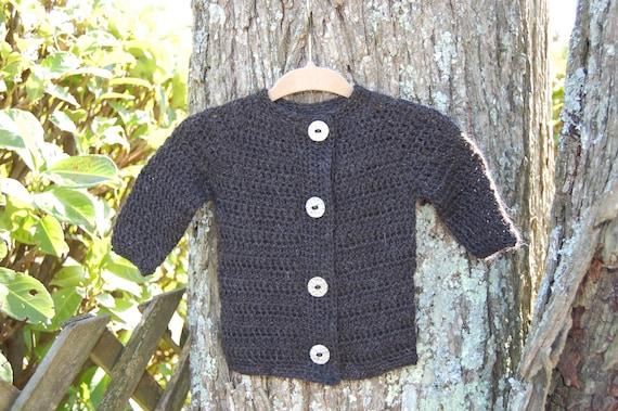 Undyed Alpaca  Black Baby Sweater size 6 months