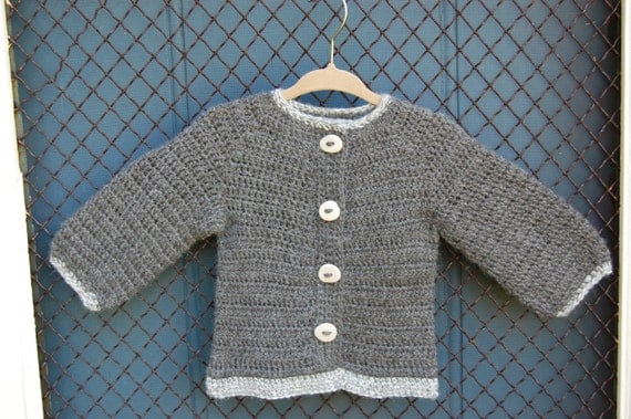 Undyed Alpaca Sweater in Gray with River Stone Buttons size 24 months